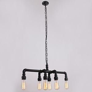 Water Pipe Retro Plating 6 Light Painting Pendant