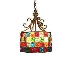 European Style Garden American Style Garden American Colored Glass Lamp 38 Cm in Diameter.