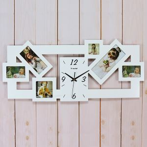 Contemporary Simple Creative Wooden Frame Mute Wall Clock Non-ticking