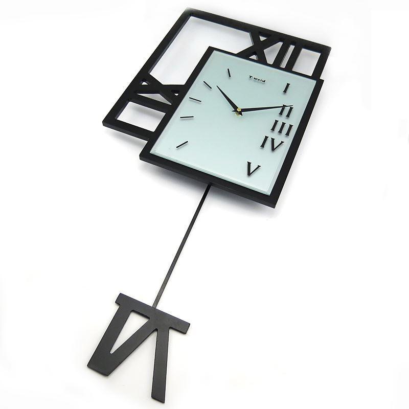Contemporary Simple Wooden Black Pendulum Clock Mute Non