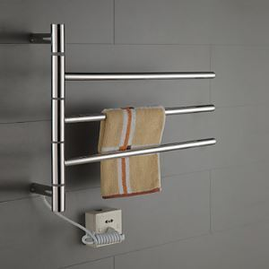 Swivel Towel Warmer 40W Swing Arm Stainless Steel Circular Tube  Drying Rack