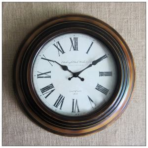 Vintage European Wrought Iron Round Mute Wall Clock for Kitchen
