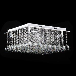 Crystal Flush Mount, 4 Light, Modern Cubic Stainless Steel Electroplating