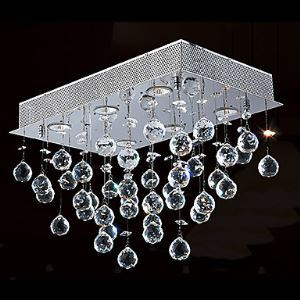 Crystal Flush Mount, 6 Light, Contemporary Minimalist Iron Electroplating