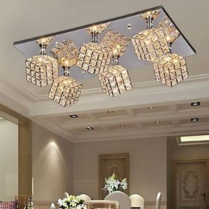 (For Sale) Modern Square Crystal Ceiling Light with 6 lights