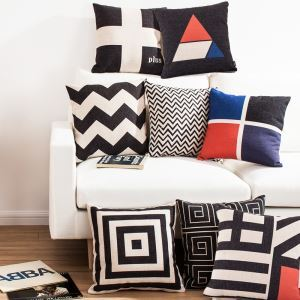Geometric Design Sofa Office Linen Cushion Cover Pillow Cover