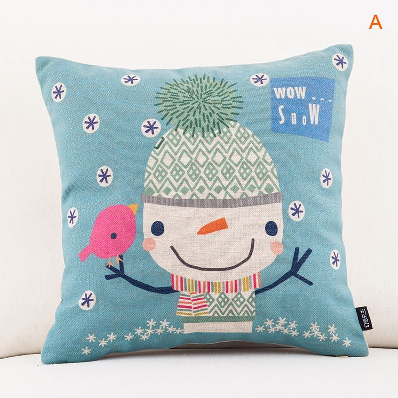 Christmas Sofa Office Linen Cushion Cover Pillow Cover 5