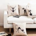 Modern Simple Elves Cat Sofa Office Linen Cushion Cover Pillow Cover