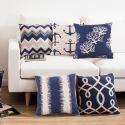 Fashion Pillow Case Mediterranean Blue Sofa Office Linen Cushion Cover Pillow Cover