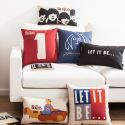 Vintage Figures Sofa Office Linen Cushion Cover Pillow Cover Letters Designs for Christmas Holiday Decor Christmas Pillow Christmas Gifts