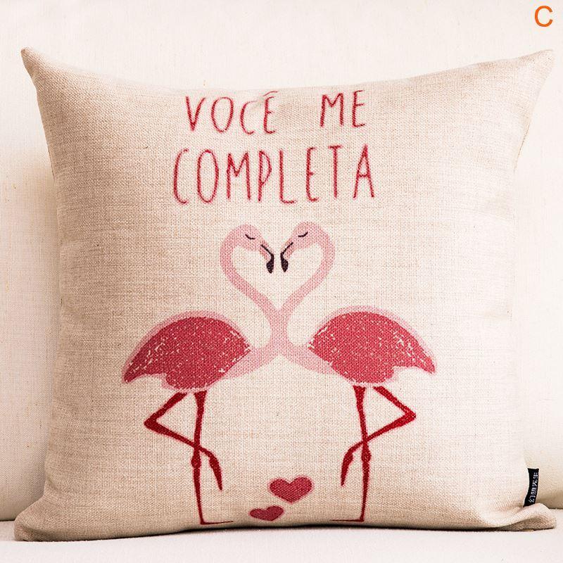 Flamingo Heart Shaped Sofa Office Cushion Cover Pillow