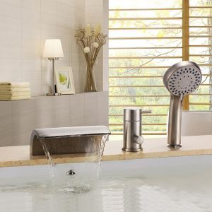 Modern Nickel Deck Mount Tub Faucet with Sprayer Holes Installation