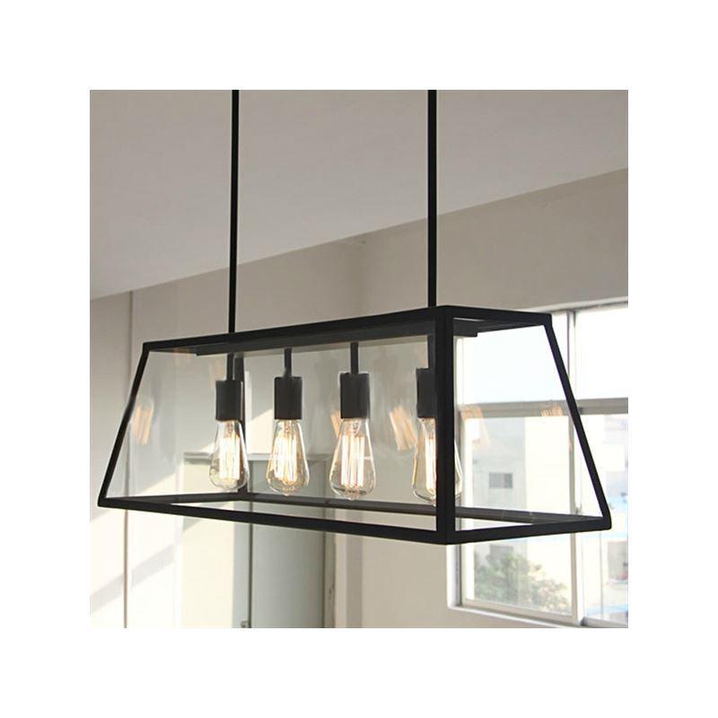 Black Chandelier Vintage Pendent Light With Transparent