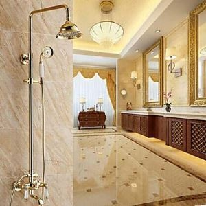 Shower Faucet Traditional Handshower Included / Rain Shower Brass Ti-PVD