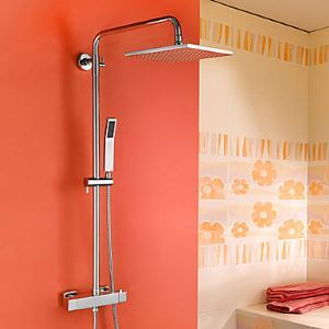 Contemporary Chrome Brass Thermostatic Shower Faucet with Air Injection Technology Shower Head