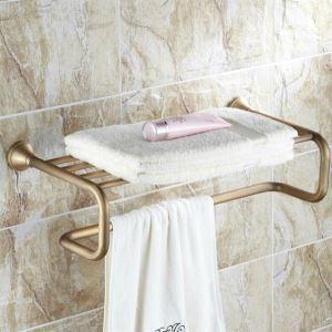 Antique Bathroom Shelf with Towel Bar Brass Bathroom Shelf