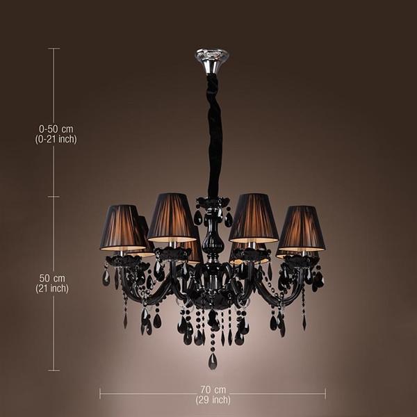 Chandelier Luxury Modern Black Crystal Living 8 Lights