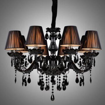 Black Crystal Chandelier Luxury Modern Living 8 Lights