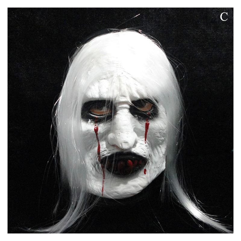 Halloween Ghost Mask With White Hair Trick Toy Head Cover