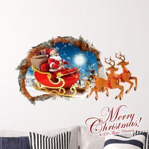 Creative Christmas 3D Reindeer Sleigh Wall Sticker Christmas Holiday Decor Christmas Gifts