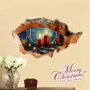 Creative Christmas 3D Christmas Candle Wall Sticker Christmas Holiday Decor Christmas Gifts