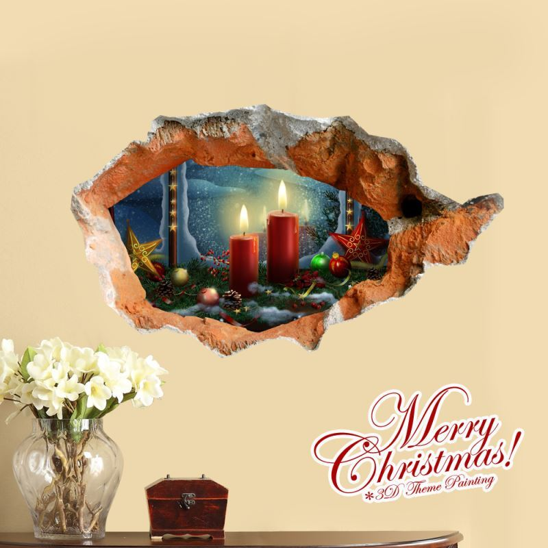 Creative Christmas 3d Christmas Candle Wall Sticker
