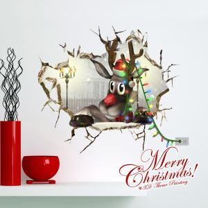 Creative Christmas 3D Cute Reindeer Wall Sticker Christmas Holiday Decor Christmas Gifts