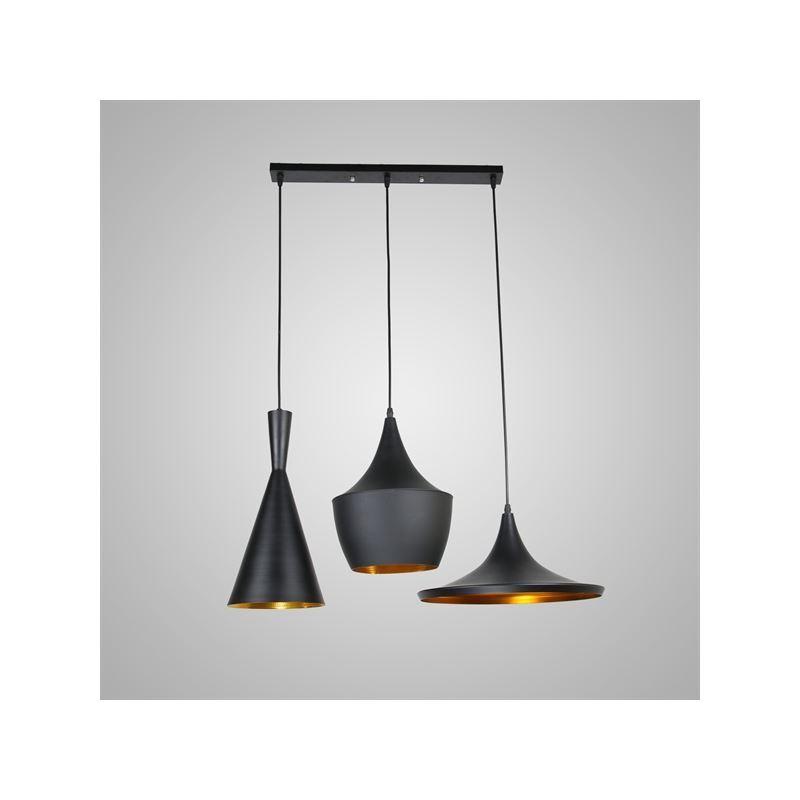 In Stock Pendant 3 Light Industrial Black Chandelier