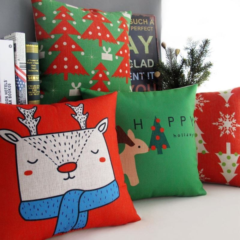 Christmas Sofa Office Cushion Cover Christmas Pillow Cover