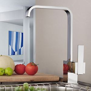 Contemporary Single Handle Brass Kitchen Faucet Chrome Finish Sink Tap