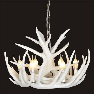 Rustic Cascade Chandelier Antler Chandelier Antler Lighting with 6 Lights White Dining Room Lighting Ideas Lighting Living Room Bedroom Ceiling Lights(Love Of Nature)