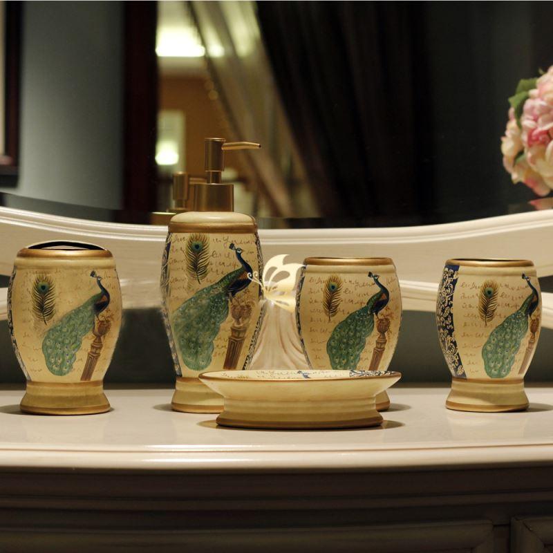 Peacock Bathroom Accessories European Style Peacock Creative Ceramic Bath Ensembles 5 Piece