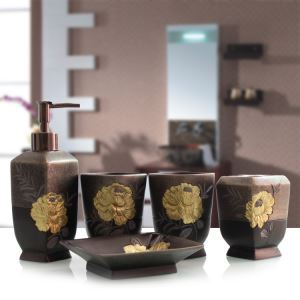 European Antique Creative Resin Bath Ensembles 5-piece Bathroom Accessories
