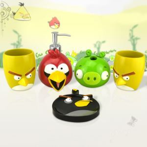 Cartoon Angry Birds Creative Resin Bath Ensembles 5-piece Bathroom Accessories