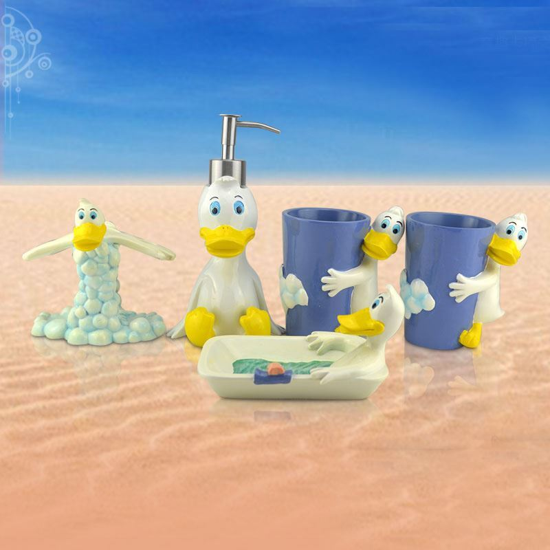 Cartoon Donald Duck Creative Resin Bath Ensembles 5-piece
