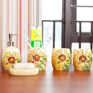 European Style Sunflower Creative Ceramic Bath Ensembles 5-piece Bathroom Accessories