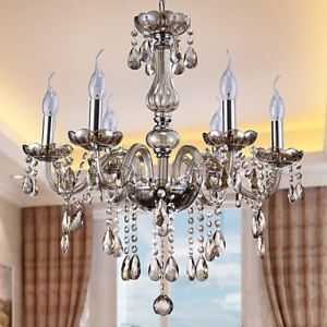 Chandeliers 6 Lights Silver Vintage in Crystal Featur Cognac