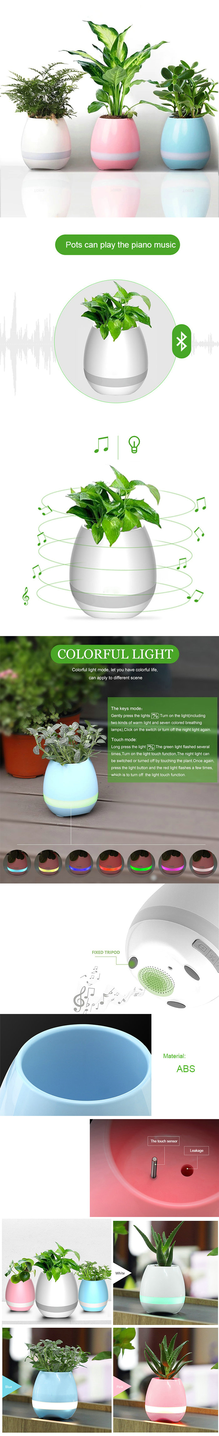 Mini Smart Music Flower Pot Touch Sensation Can Play Music Bluetooth Function Potted Plant White Blue Powder 3 Colors Available