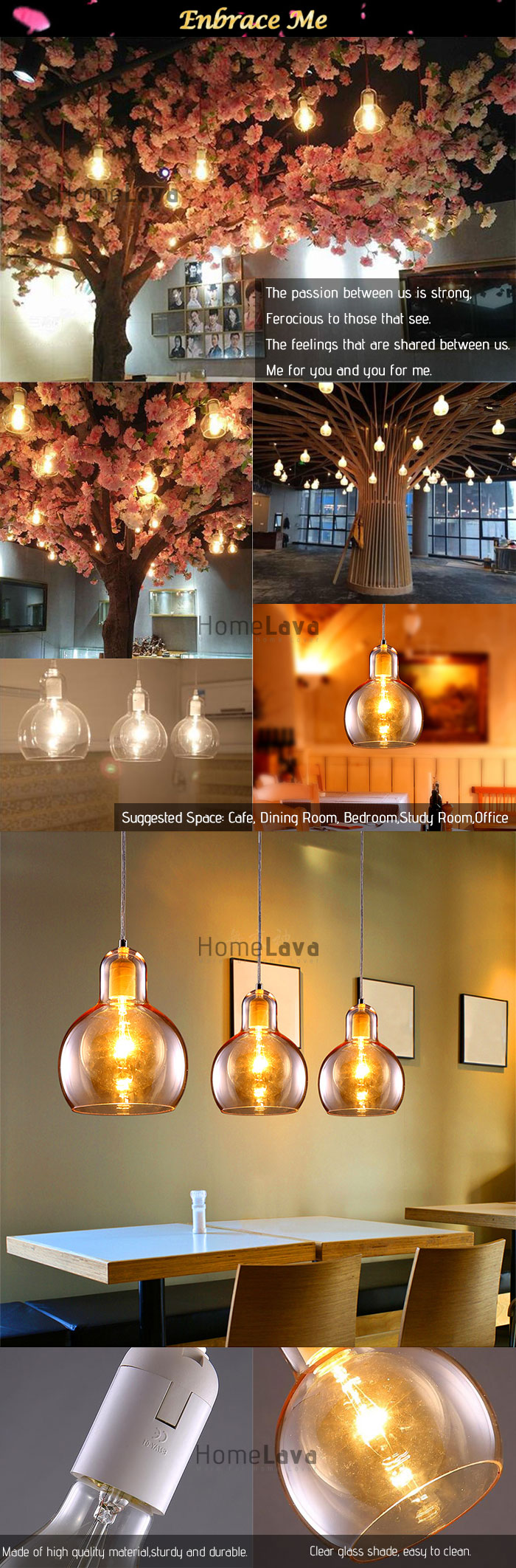 (In Stock)  Mouth-Blown Glass Modern Minimalist Pendant Light with 1 Light Dining Room Lighting Ideas Living Room Lighting Bedroom Ceiling Lights(Enbrace Me)