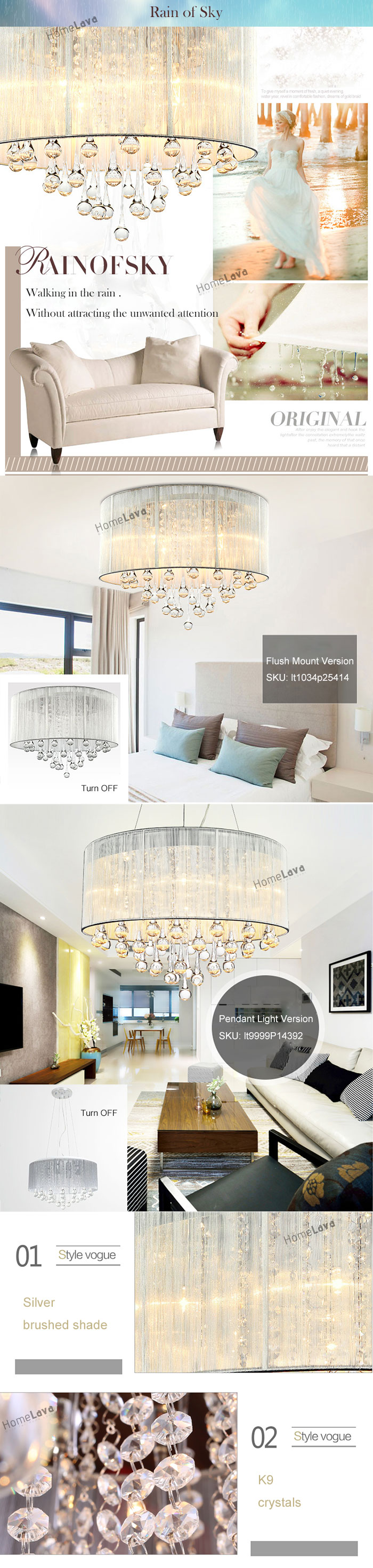 Modern Simple Fashion Round Crystal Flush Mount Ceiling Light 6 Lights(Rain of Sky)