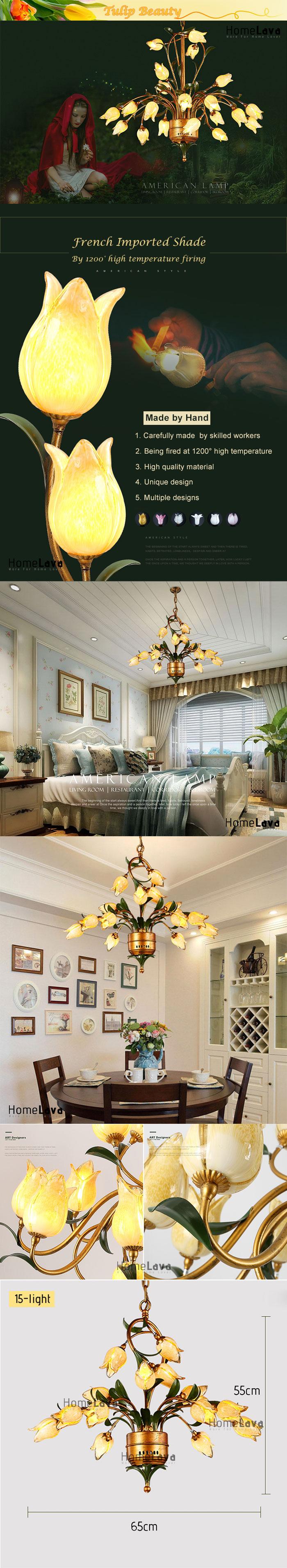 European Style Retro Iron Gold Tulip Glaze Shade 15 Lights LED Chandeliers