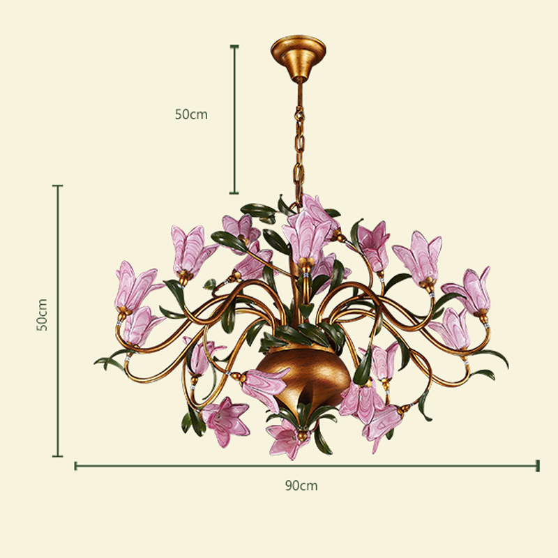 European Style Retro Iron Purple-red Lily Glaze Shade 20 Lights LED Chandeliers
