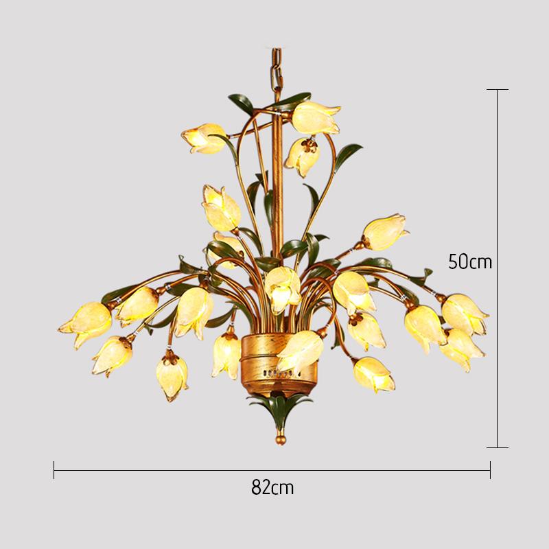 European Style Retro Iron Gold Tulip Glaze Shade 21 Lights LED Chandeliers