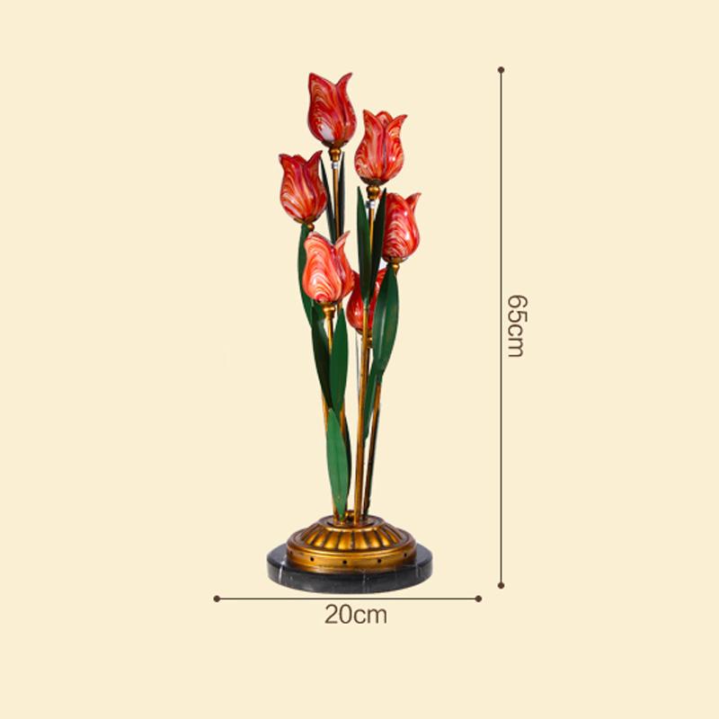 European Style Retro Iron Red Tulip Glaze Shade 6 Lights LED Table Lamp