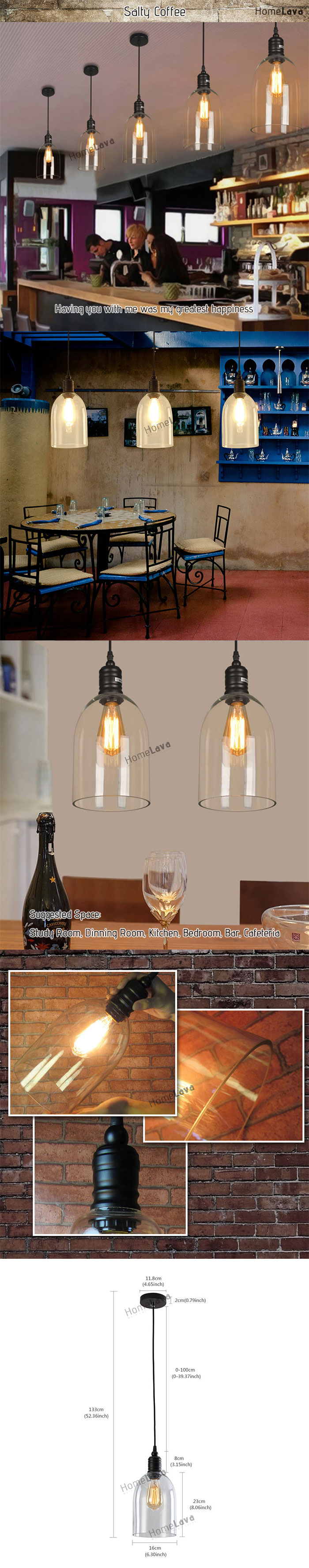 (In Stock) Dome Shape Clear Glass LOFT Mini Pendant Light(Salty Coffee)