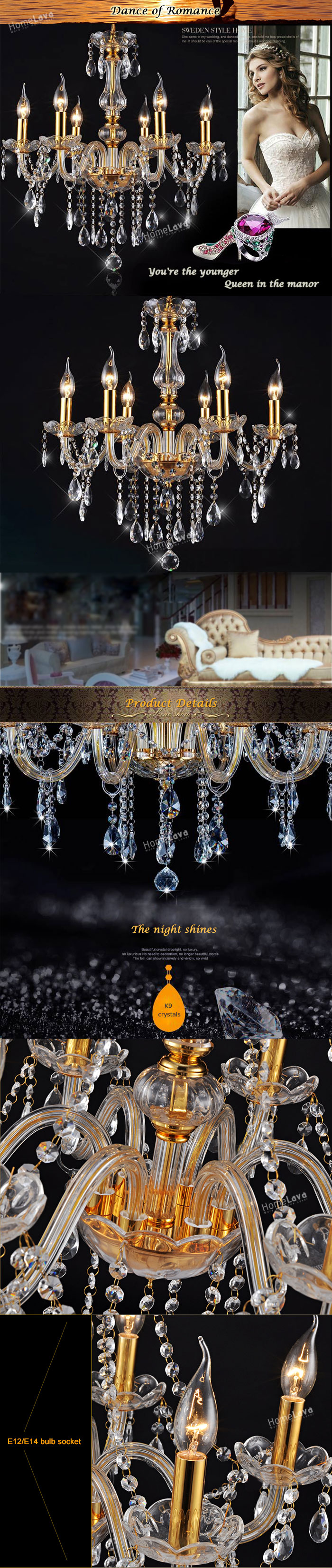 Chandeliers 6 Lights Golden Vintage in Crystal Feature Ceiling Lights(Dance Of Romance)
