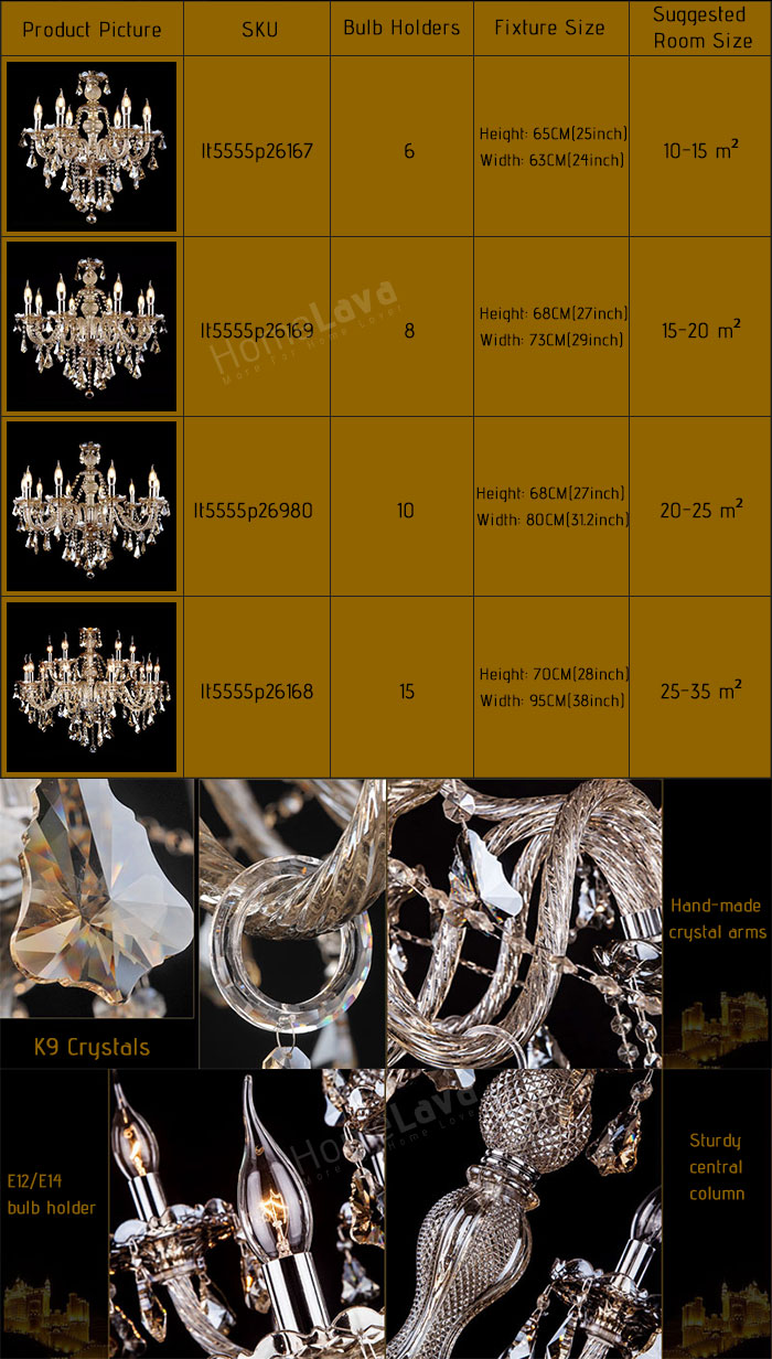 Chandelier Cognac Color Crystal Modern 8 Lights Living Room Bedroom  Dining Room Lighting Ideas Kitchen Lighting Ideas Ceiling Lights(Dance Of Romance)