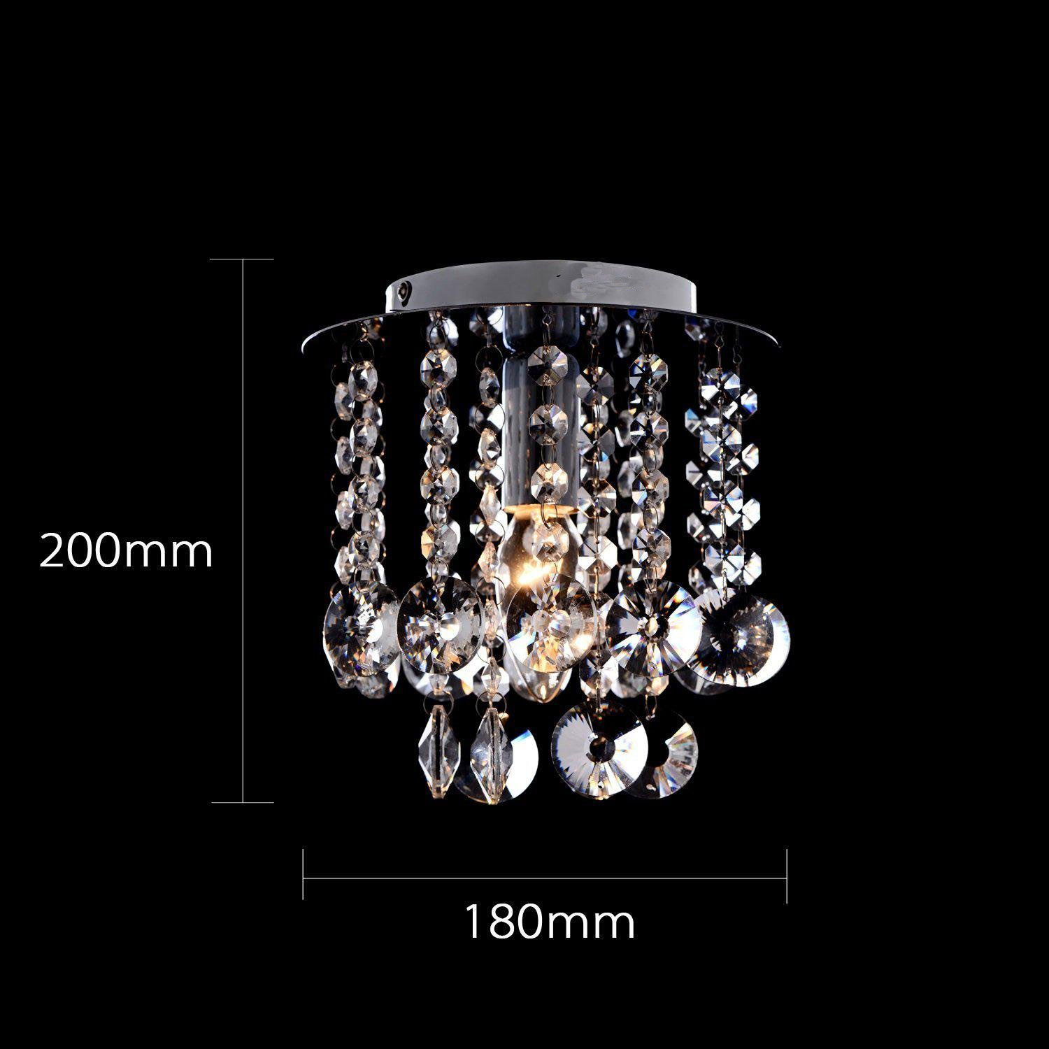 Mini Modern Chrome Plating Crystal Flush Mount K9 Crystal Double Layer Mesh Crystal