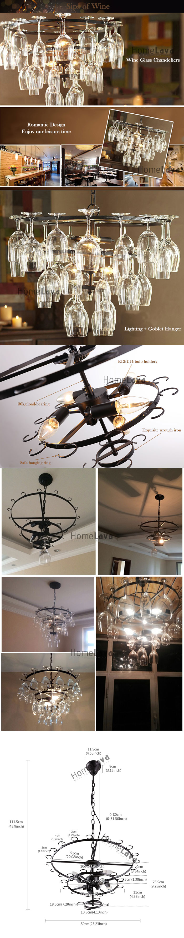 (In Stock) Ceiling Lights Wine Glass Chandelier 240W Pendant Lighting with 6 Lights in Wine Glass Feature (Wine Glass NOT Included)(Sips Of Wine)