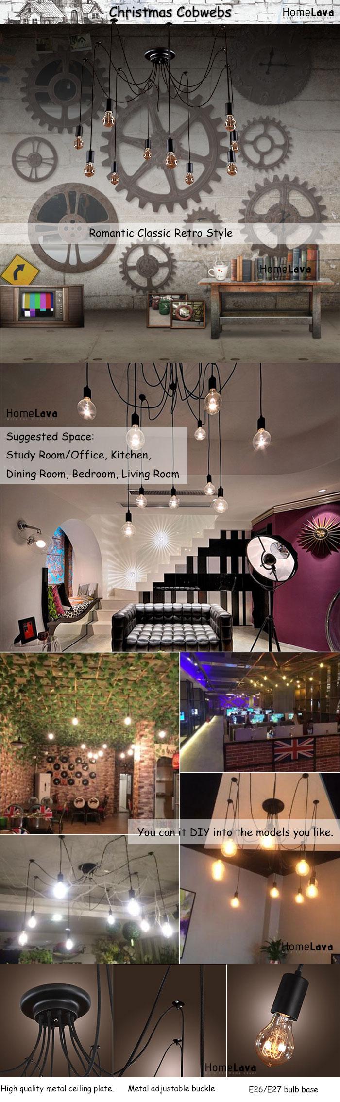 (In Stock)Ceiling Lights Chandelier Vintage Design Living 10 Lights(Christmas Cobwebs)